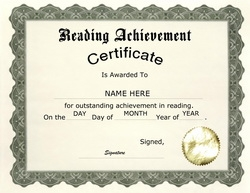 Reading Achievement Certificate Clip Art U0026 Wording  Achievement Award Wording