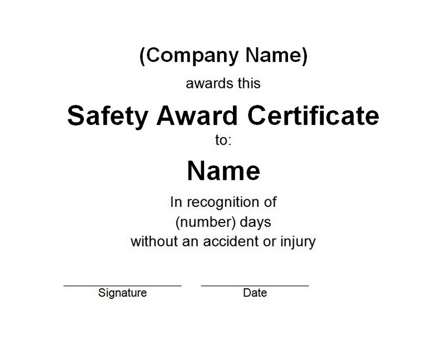 Safety Award Certificate  Free Word Templates Customizable Wording