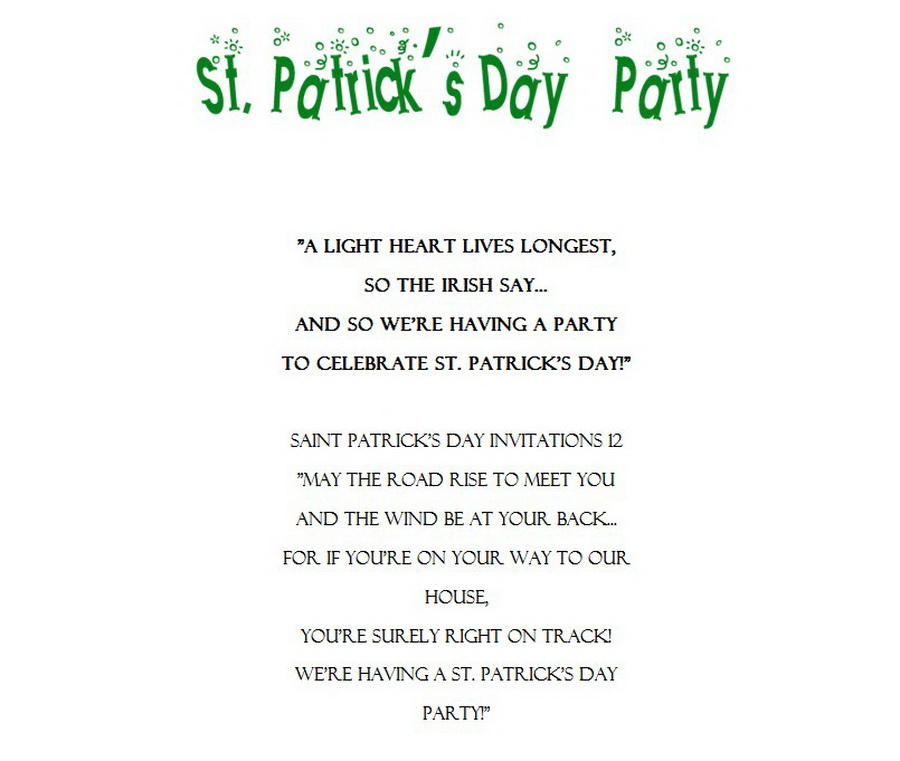 St Patricks Day Invitations 11 Wording | Free Geographics Word Templates