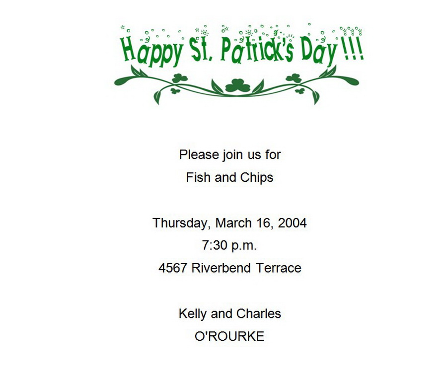 St Patricks Day Invitations 2 Wording | Free Geographics Word Templates
