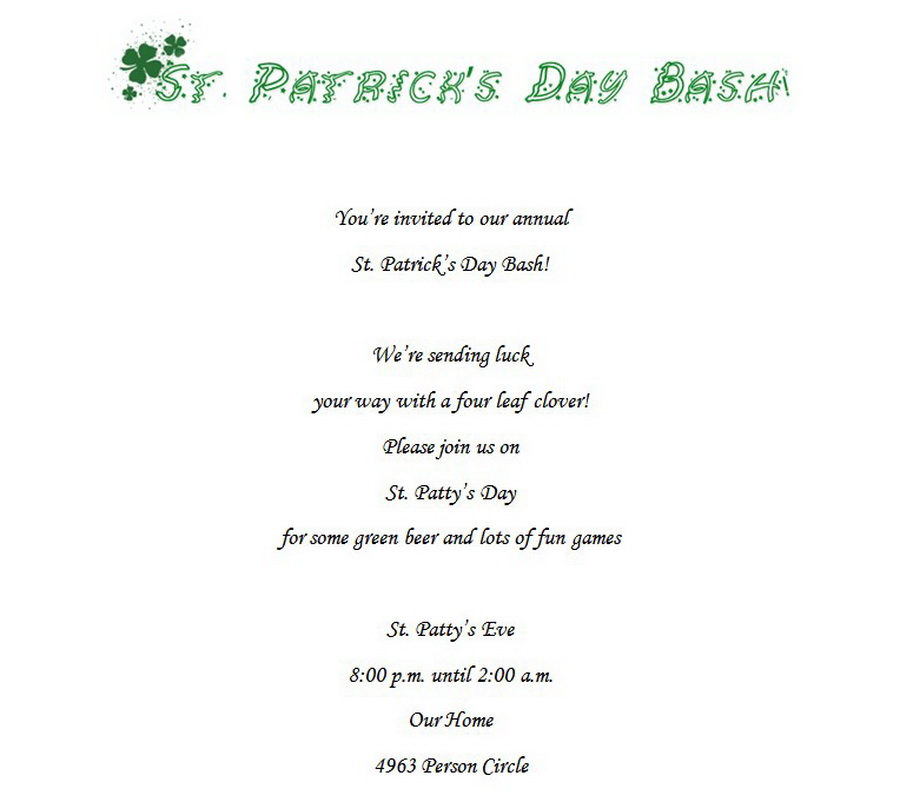 st patricks day invitations 3 wording free geographics word templates