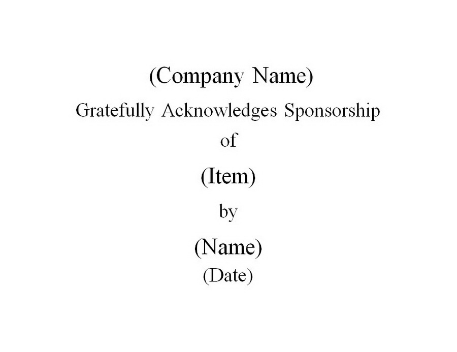 Sponsorship Certificate Free Word Templates Customizable Wording