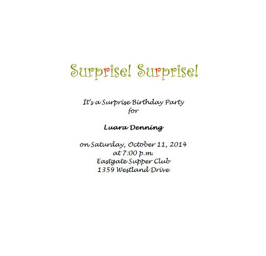 surprise birthday party invitations 7 wording free word templates. Black Bedroom Furniture Sets. Home Design Ideas