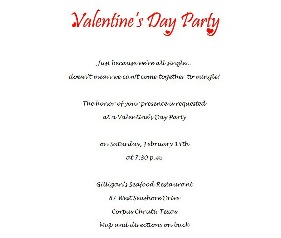Valentines Day Party Invitations 1 Wording