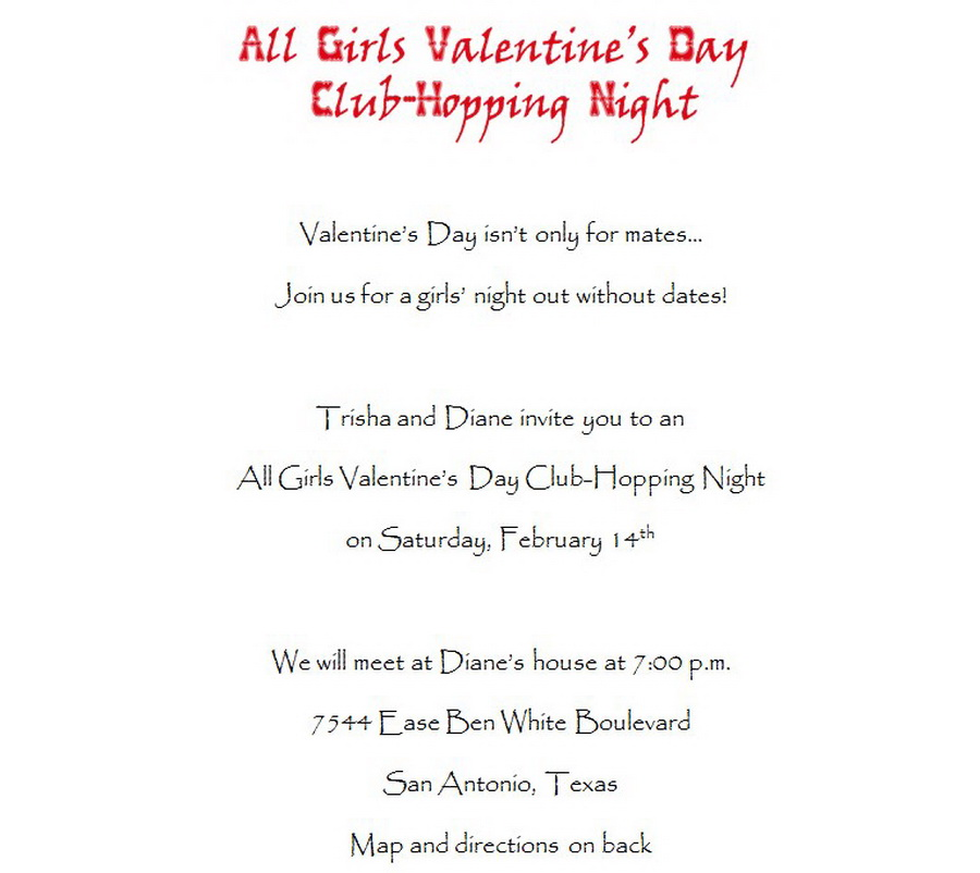 Valentines Day Party Invitations 2 Wording