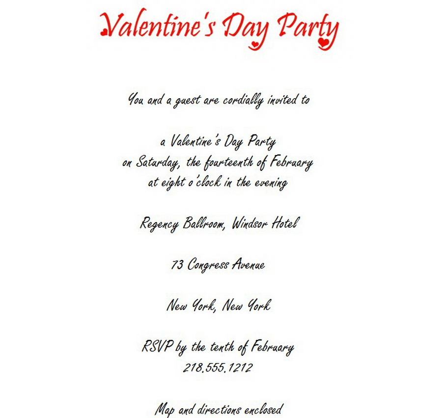 Valentines Day Party Invitations 3 Wording