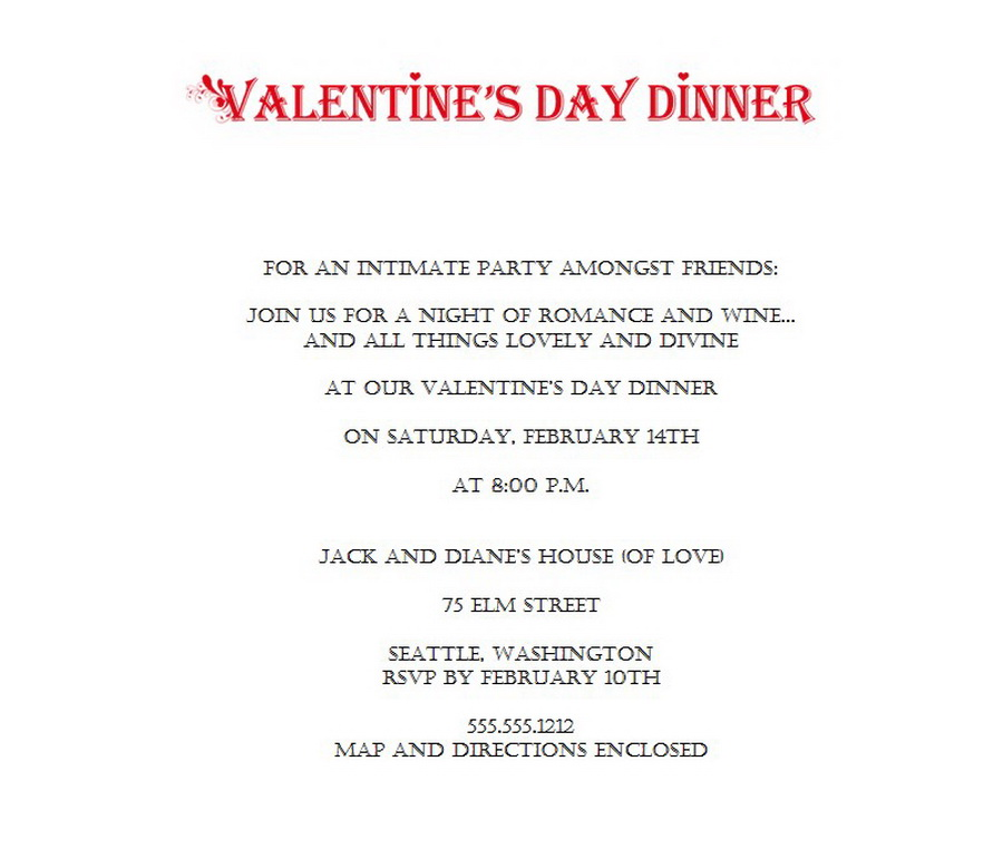 Valentines Day Party Invitations 4 Wording