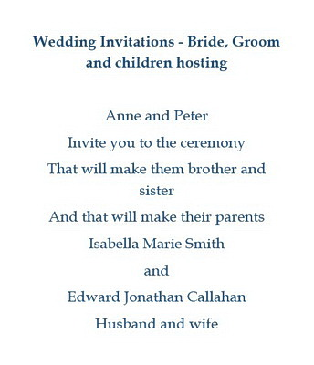 Wedding Invite Wording From Bride And Groom.Wedding Invitations Bride Groom Children Hosting Wording Free