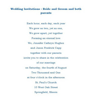 Wedding Invitations Bride Groom Both Parents Wording Free