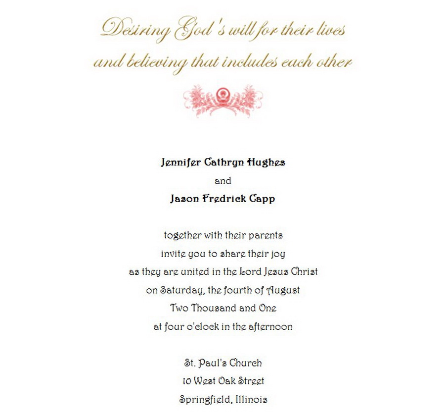 Wedding Invitations Bride Groom Both Parents 7 Wording