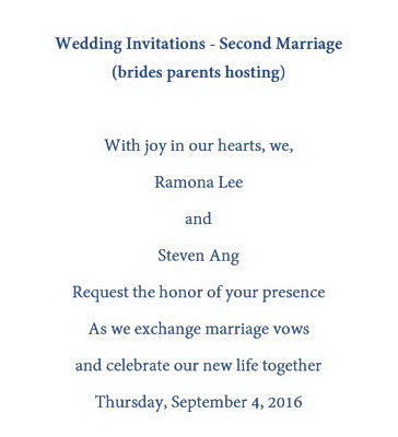 Wedding Invitations Second Marriage Wording   Free Geographics Templates