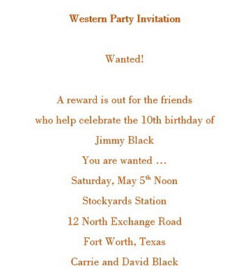 Free wording by theme geographics printable stationery western party invitations wording stopboris Choice Image