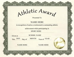 athletic awards certificates