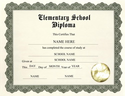 Elementary diploma certificate template yadclub Gallery